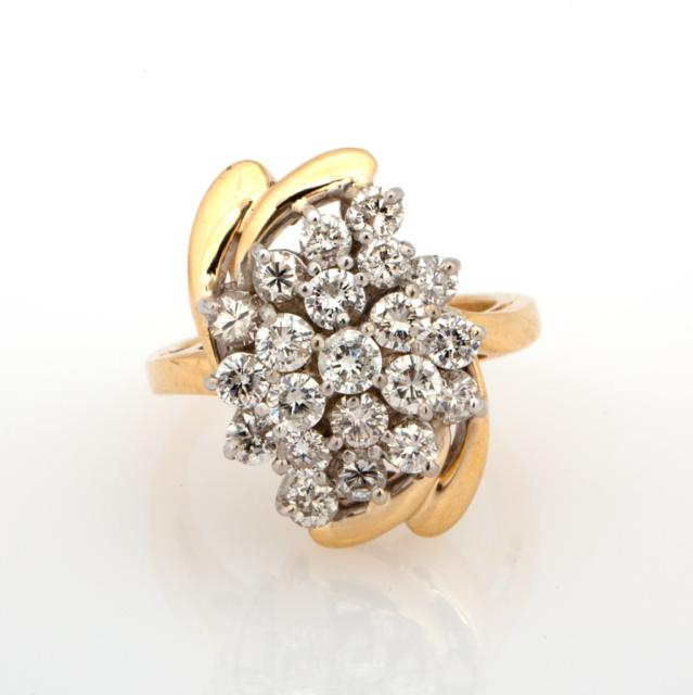 Estate 14K Yellow Gold Diamond Cascade Ring 2.00 CTW Round Diamonds Size 5