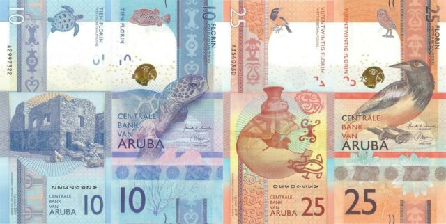 Aruba 2 Note Set: 10 & 25 Florin (1 January 2019) - New Series/UNC