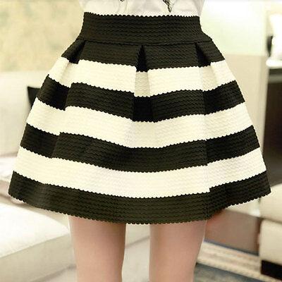Sexy Fashion Ponte Skirts Stripe Pleated High Waist Tutu Skirt Mini Short Dress