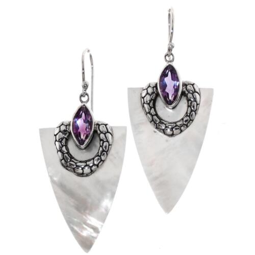 """1 7//16/"""" Mother of Pearl Shell Améthyste 925 argent sterling Boucles d/'oreilles"""