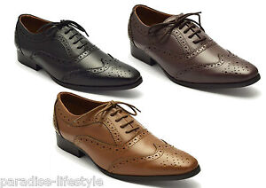 24fa4f2b375 Image is loading Mens-Brogue-Shoes-Leather-Black-Tan-Brown-Oxford-