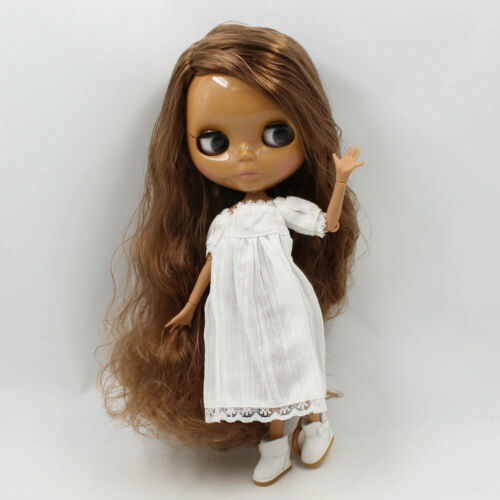 "12/"" Neo Blythe Doll from Factory Jointed Body Dark Skin Brown Wavy Hair DIY Toys"