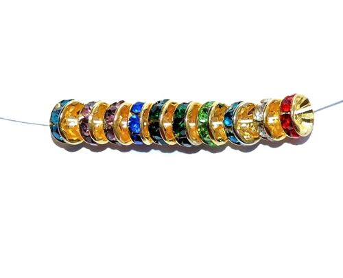 8 mm 100 pcs AAA gold glass crystal rondelle spacer beads option for colours