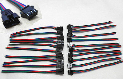 20 Set 4 PIN RGB Connector Wire Cable For 3528 5050 SMD LED Strip Male & Female