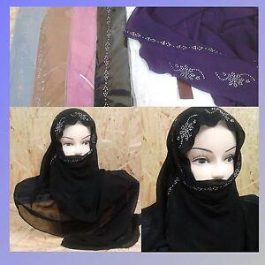 2-tlg foulard islam musulman islamique hijab niqab Khimar gebetstuch Chiffon