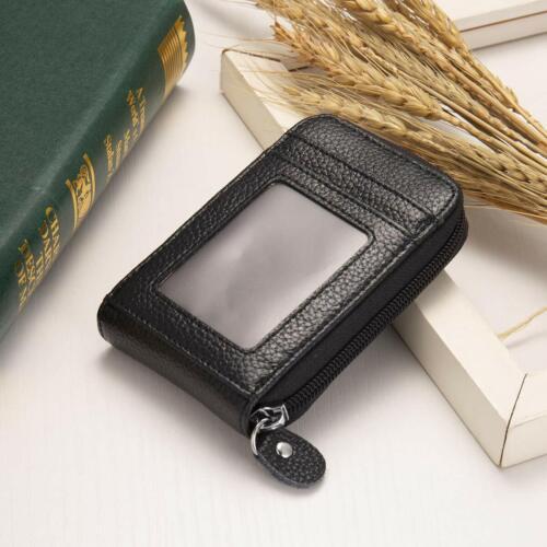 New Vintage Leather RFID Card Holder Ladies Men/'s Wallet Credit Card Coin Bag UK