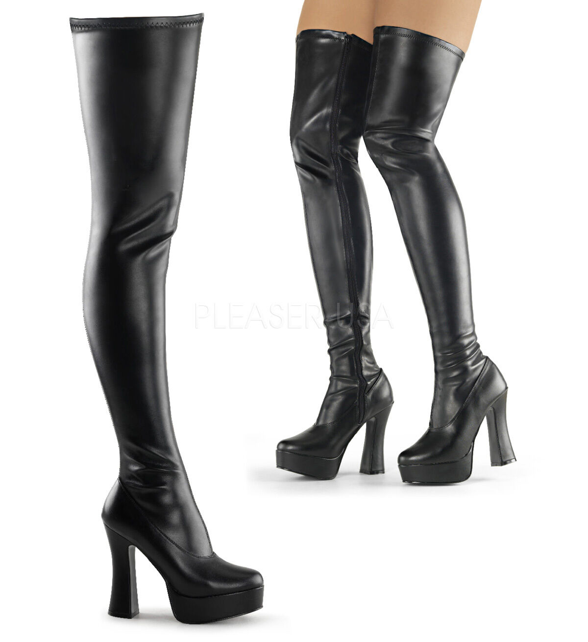 Electra 3000z Smooth Thigh High Platform Heel Stiefel Chunky Stack 5