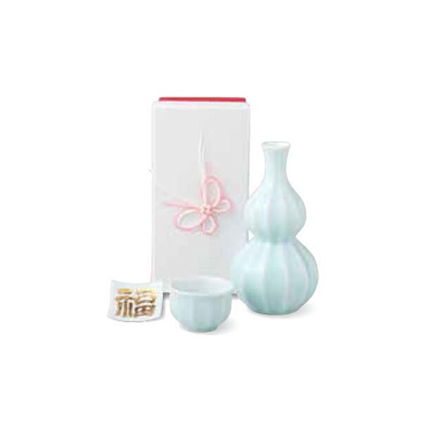 Sake Bouteille & Cup Set-Kotobuki Fortune Blanc-JAPONAIS ARITA Yaki porcelaine