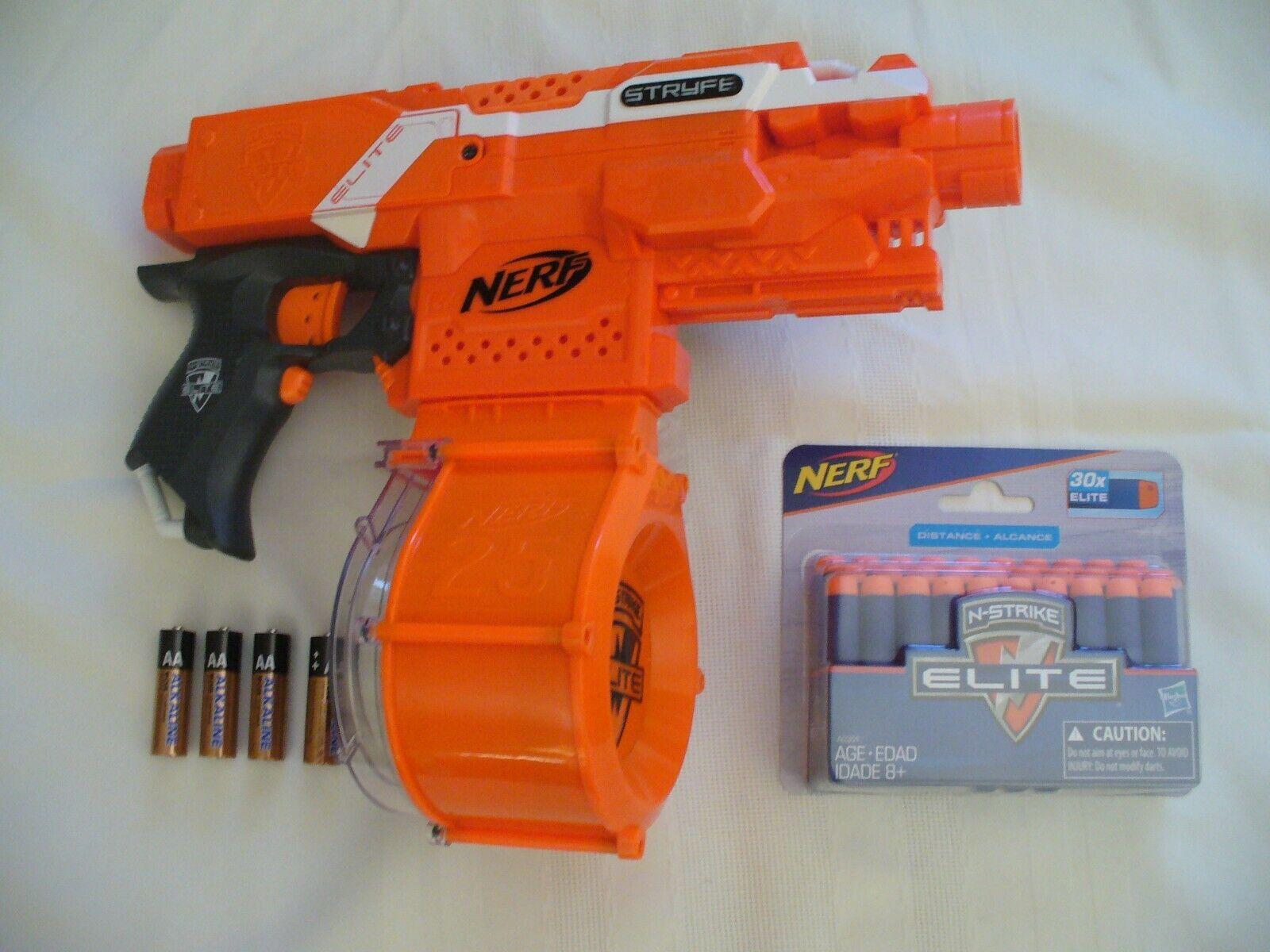 Nerf orange Stryfe Elite Gun 25 25 25 Dart Drum New Darts & Batteries FREE SHIPPING 1de535
