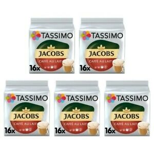 Tassimo Jacobs Cafe Au Lait Pack of 5 (Total of 80 Coffee Pods)