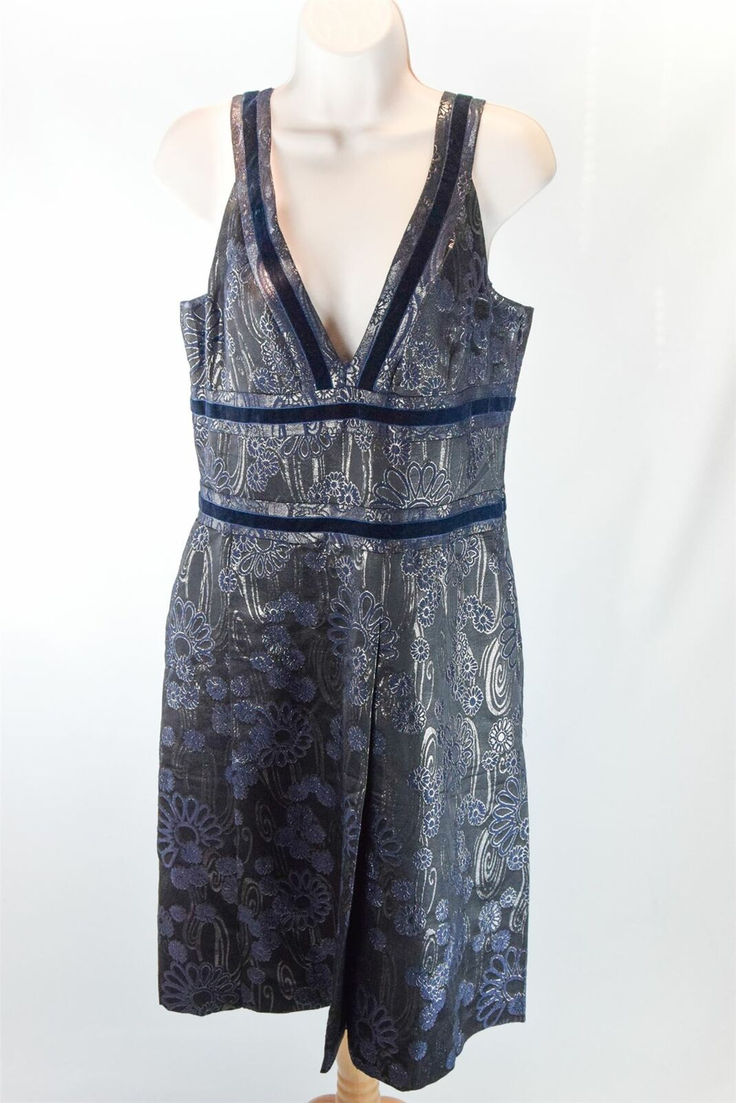 CACHAREL Grey Shiny Floral Dress, US 10