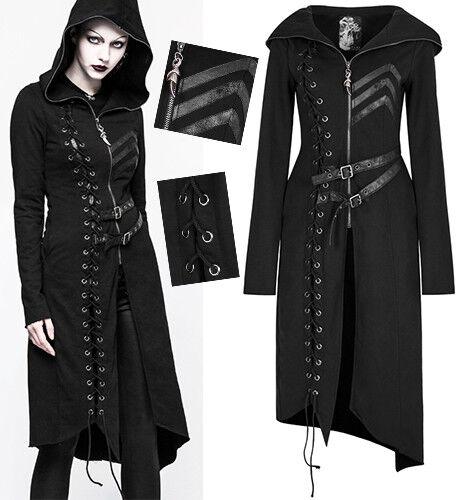 Kapuzen Mantel Gothic Punk Lolita Leder Streifen Schnürung Vintage Mode PunkRave