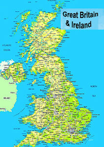 Map Of N Ireland.Details About Laminated Map Of Great Britain Uk England Scotland Wales N Ireland Poster