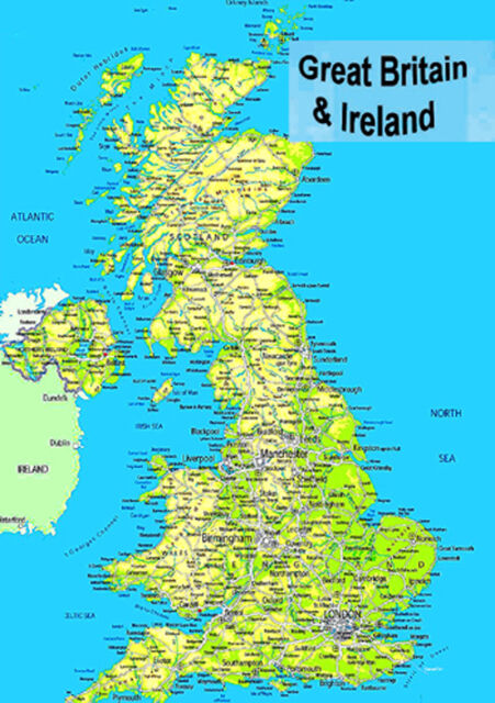 Laminated Map of Great Britain UK England Scotland Wales & N Ireland ...