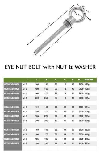 M12 150mm//210mm Eye nut Bolt Electropolished Eyebolt 316 Stainless Steel 12mm