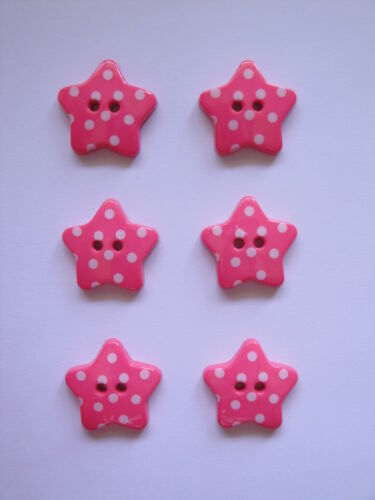 6 Dotty Star Buttons in Many Colour Choices