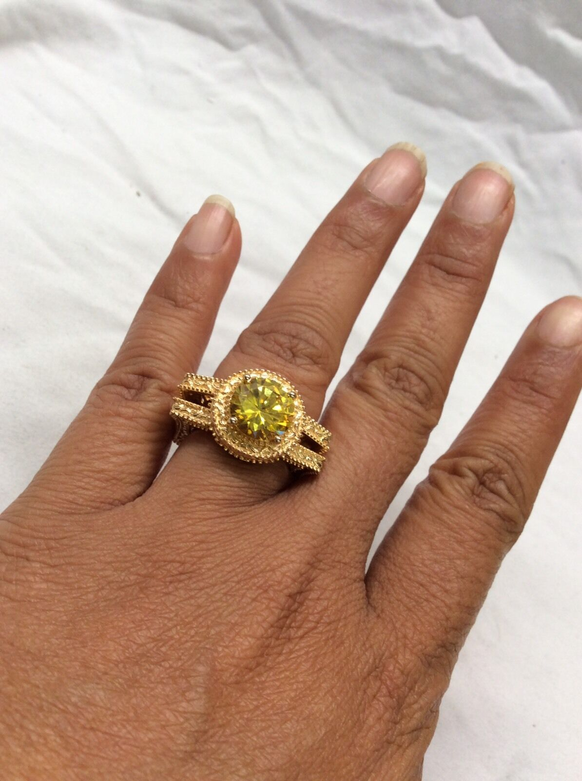 Beautiful Statement Kari's STS Yellow Stone gold Plate ring size 6