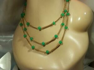 WOW Jade Green Art Glass X Long Gold Tone Chain  Necklace Vintage 50's 11JN0