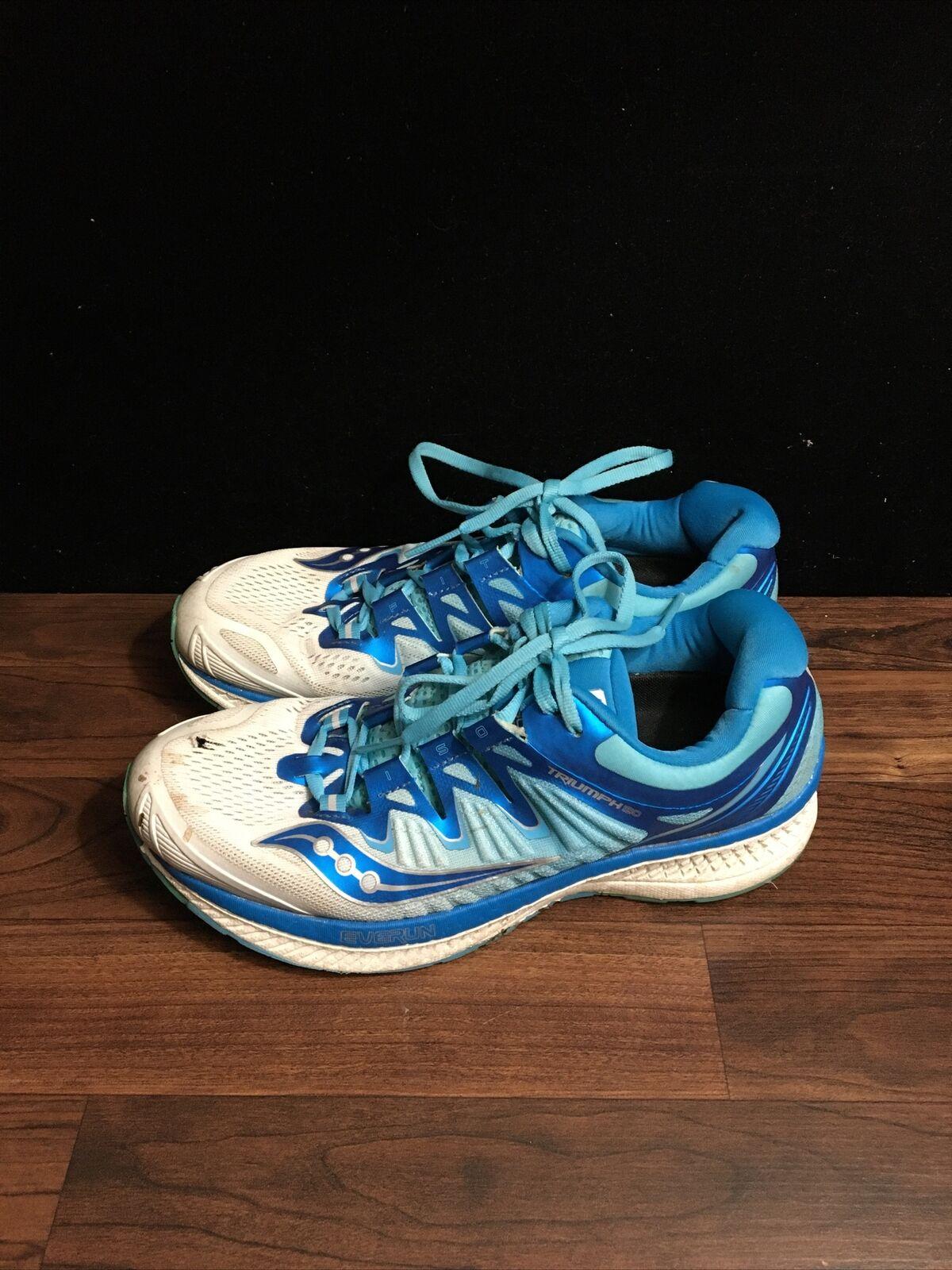 Saucony Triumph ISO jamais exécuter everrun bleu chaussures de course pour femme SZ 10 worn
