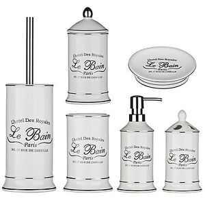 Le bain bathroom accessories white stoneware available individual items or set ebay - Accessori bagno le bain ...