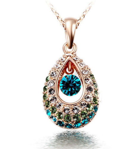 peacock eye drop blue gold Clavicle Pendant Necklace Chain Gift rhinestone love