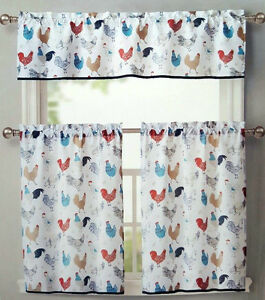Image Is Loading ROOSTER KITCHEN WINDOW CURTAINS 3 SET FLORAL TIERS