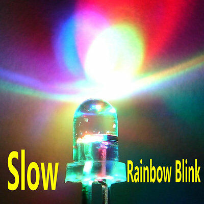 100pcs 5mm RGB 2-pin Slow Flash Round LED Lamps Rainbow Blink