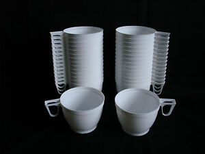 Set 30 Plastic White Coffee Tea Mugs Cups For Party