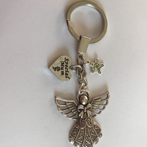 GUARDIAN ANGEL WITH SPECIAL MOTHER CHARM KEY RING  BAG CHARM GIFT PRESENT