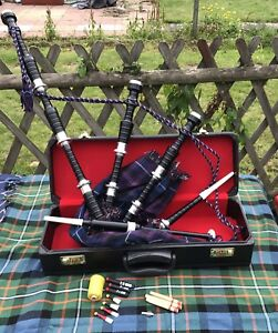 Great-Highland-Bagpipes-Silver-Amounts-Scottish-Bagpipe-with-Hard-Case-chanter