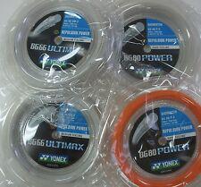 4 Coils YONEX 200 m Badminton Strings - 2 x BG66 Ultimax & 2 x BG80 Power