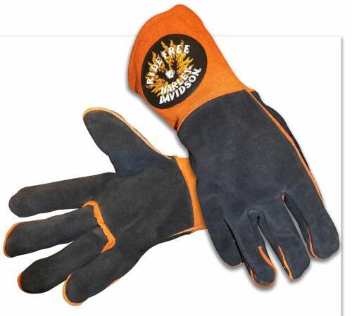 Harley Davidson Ride Free Welding Gloves Size XL Leather Orange Black New