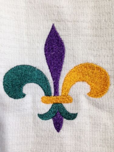 "Kitchen Towel Mardi Gras Fleur De Lis 16/""Wx19/""L- Bar Mop Towels Set of 2"