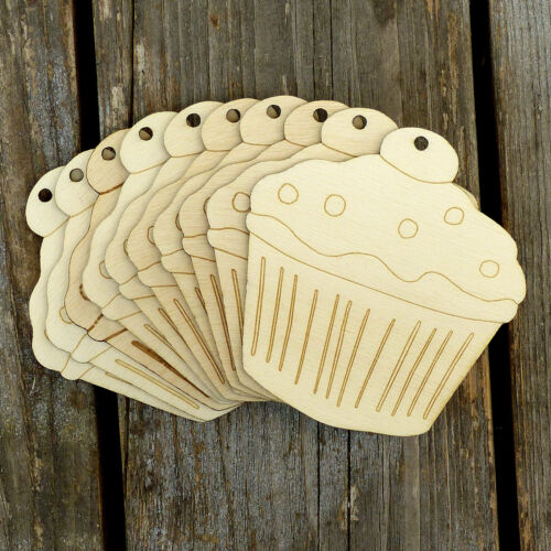 10x Wooden Cupcake B Cherry On Top  Craft Shapes 3mm Plywood Cooking Puddings