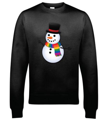 Proud Rainbow Scarf Snowman Christmas Sweatshirt Hoodie Christmas Jumper Gay