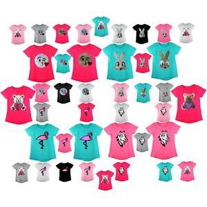 Kinder Emoji Emoticons H/äschen Pferd Flamingo Smiley Gesicht T-Shirt T-ST/ÜCK Top B/ürste /ÄNDERUNG Sequin 3-14 Jahre