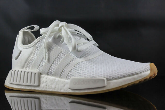 4c6b045a7 adidas NMD R1 Mens D96635 Cloud White Gum Boost Knit Running Shoes Size 9.5