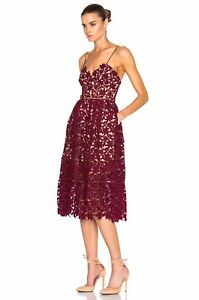 68f28f4228 Image is loading Self-Portrait-Azaelea-Dress-Burgundy-Size-10-never-