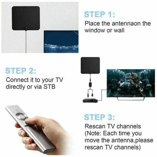 350 Mile HD Digital Indoor VHF UHF HDTV TV Amplified Antenna 4K 1080P Free Fox