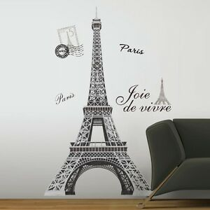 "New 56"" EIFFEL TOWER GIANT WALL DECALS Mural France Paris Stickers ..."