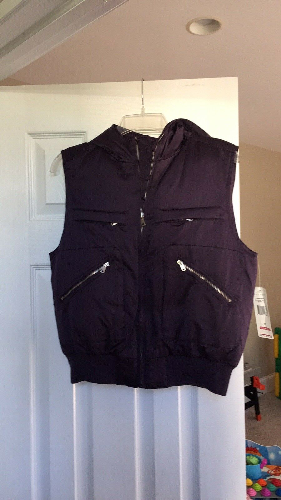 NWT Lauren Ralph Lauren Purple Hooded Puffer Vest Size Medium Women's