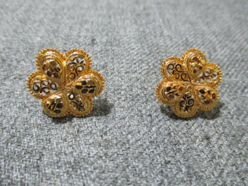 Big Gold Plated Earrings Studs Indian Asian Jewellery Wedding Stud for women-T16