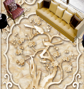 3D Flower Tree Bird 5 Floor WallPaper Murals Wall Print 5D AJ WALLPAPER UK Lemon