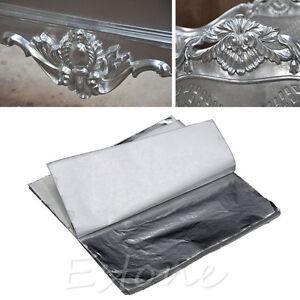 New 100 sheets silver leaf leaves foil paper for gilding for Silver foil paper craft