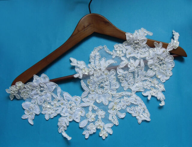 "18"" Bridal Wedding Beads Sequins Cord Flowers Off White Motif Lace -SA134R"