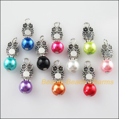10Pcs Tibetan Silver Tone Owl Mixed Round Glass Beads Charms Pendants 8x24mm