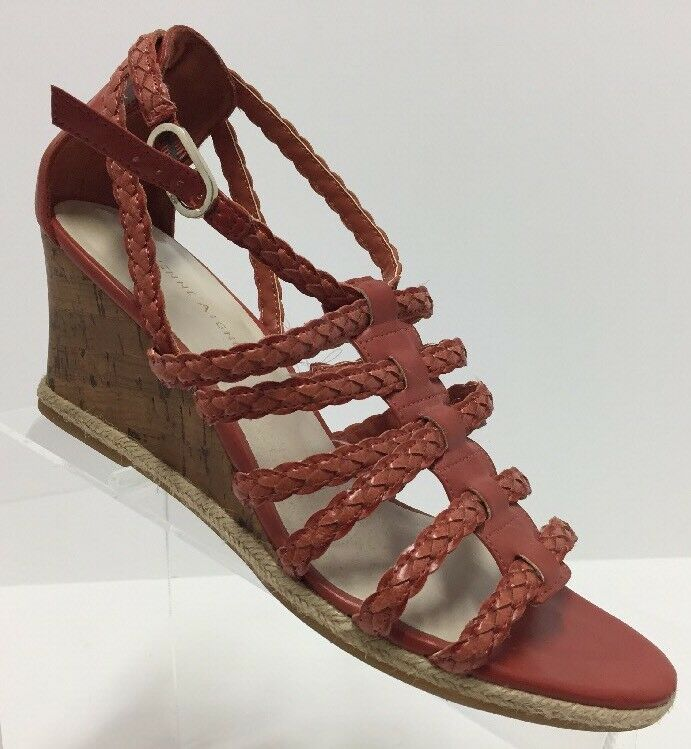Etienne Aigner Vibrant Red Gladiator 9 Cork Wedge Sandals Size 9 Gladiator Women Pre-owned ed4b22
