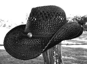 New ROCK STAR Rock n Roll Cowboy Shapeable Western Raffia Straw ... c69fffd35da4