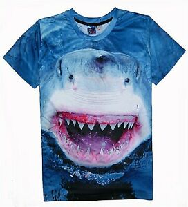 Grand-Requin-Blanc-T-Shirt-All-Over-Drole-Effrayant-Imprime-Animal-Imprime-Tee