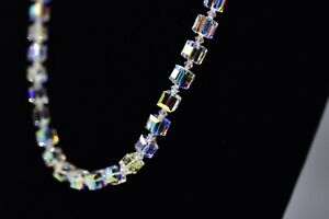 Genuine-Glass-Rainbow-Aurora-Borealis-Square-Crystal-Strand-Vintage-Necklace-Bn6